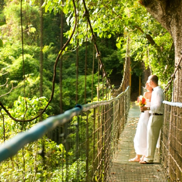 Awesome romantic photo on hanging bridges in #costarica - #vacations